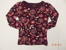 NWOT Old Navy Girls Floral Long Sleeved T-Shirt Size XS Burgundy Pink