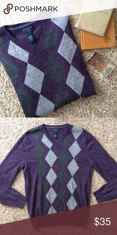 Men's Banana Republic Merino Wool Argyle Sweater Men's Banana Republic Merino Wool Argyle Sweater. Size: large Colors: purple, gray, silver. Great condition! Banana Republic Sweaters