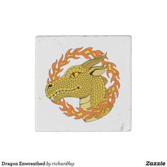 Dragon Enwreathed Stone Magnet.  40% off with code STICK2GETHER  Offer is valid through April 15, 2017 11:59 PM PT.  #zazzle #stone_magnet #magnet #dragon #golden_dragon #amber_eyed_dragon