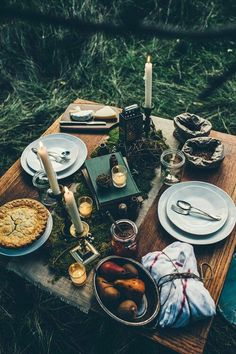 Fine repast in the shade of a woodland copse.