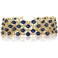 Effy Jewelry Effy 14K Yellow Gold Blue Sapphire and Diamond Bracelet,... (1.557.685 RUB) ❤ liked on Polyvore featuring jewelry, bracelets, gold jewelry, diamond jewellery, 14k bangle, gold jewellery and 14 karat gold bangles