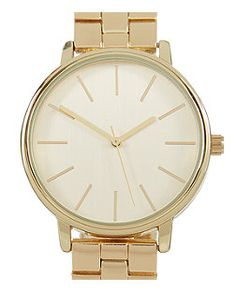 Gold Sleek Brushed Dial Watch  | New Look