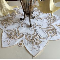 cream cutwork