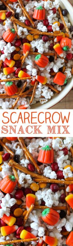 This Scarecrow Snack Mix is a fun sweet and salty snack mix that's perfect for parties or holidays. Popcorn, pretzels, M&M's, candy corn and Mellocreme Pumpkins all mixed together in a big bowl. There...