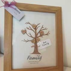 Custom family tree recently completed for a birthday present. Made with a removable birthday tag Birthday Tags, Special Birthday, Birthday Presents, Claire, Handmade Gifts, Etsy Seller, Etsy Shop, How To Make, Gift Ideas