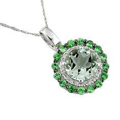 Ladies Diamond, Green Garnet, & Green Amethyst Necklace