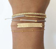 Personalized Gold Bar Bracelet / Inspiration, Name Bar Bracelet / Personalized Jewelry. The Large Legacy Bar Bracelet, Layered + Long LB104