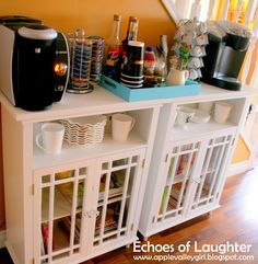 How To Organize A Beverage Center - Echoes of Laughter - Debbie Samples - How To Organize A Beverage Center – Echoes of Laughter A New Beverage Center….make a coffee center for your kitchen/dining area! Coffee Bar Station, Home Coffee Stations, Tea Station, Keurig Station, Coin Café, Coffee Center, Beverage Center, Beverage Stations, College House
