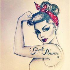 tatouage femme pin up tattoo designs ideas männer männer ideen old school quotes sketches Rosie The Riveter, Tattoo Girls, Girl Tattoos, Tattoos For Women, Tattoo Couples, Friend Tattoos, Tatoos, Pin Up Tattoos, Body Art Tattoos