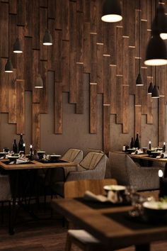 Textures, lighting, seating, and more, Wood Restaurants can easily inspire the design of your person Decoration Restaurant, Deco Restaurant, Luxury Restaurant, Modern Restaurant, Modern Cafe, Restaurant Lighting, Restaurant Recipes, Coffee Shop Design, Cafe Design