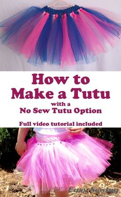 How to Make a Tutu with a No Sew Tutu Option - Easy Sewing For Beginners : How to Make a Tutu with a No Sew Tutu Option - Full video tutorial included! Sewing Projects For Kids, Sewing For Kids, Diy Craft Projects, Tulle Projects, No Sew Projects, Sewing Patterns Free, Sewing Tutorials, Sewing Hacks, Tutorial Sewing