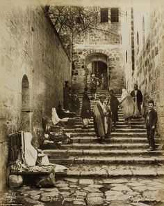 """Stairs leading to Holy Sepulchre """"The collection features some of the earliest photographs ever taken of the Holy Land from the mid 19th century."""""""