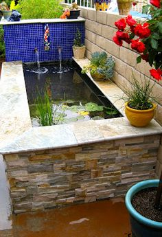 Fish pond for aquaponics system Fish Pond Gardens, Small Gardens, Water Gardens, Garden Pond, Pond Design, Garden Landscape Design, Landscape Plans, Tropical Landscaping, Backyard Landscaping