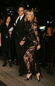 Jamie Hince and Kate Moss - Top-to-toe Alexander McQueen - At the Alexander McQueen Gala in London.  (March 2015)