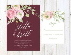 Blush and Marsala Wedding Invitation