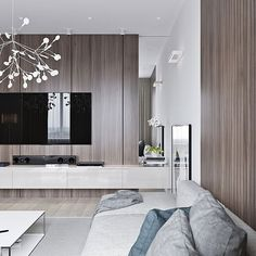 neutral modern apartment by Anton Sukharev - living room entertainment area detail