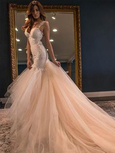 Quality Fabulous Mermaid Sheath Open Back Tulle Lace Wedding Dress Bridal Maxi Gown Custom Made Blush Pink Formal Gowns Vestidos Noiva with free worldwide shipping on AliExpress Mobile Wedding Dress Mermaid Lace, Wedding Dress Train, Wedding Dresses 2018, Tulle Prom Dress, Mermaid Dresses, Bridal Dresses, Party Dresses, Lace Wedding, Dress Lace