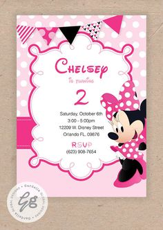 Minnie Mouse invitation, Minnie Mouse, Pink Minnie invitation, Pink Minnie Mouse Invitation, Minnie Mouse invitation, Minnie Invitation, Minnie Mouse invite, Minnie Invite, Shabby Chic, Minnie Mouse Birthday Party, Invitation, Invite, Thank you Card, Cupcake Toppers, Minnie Mouse Photo Invitation, Minnie Photo Invitation, Photo, Water Bottle Wraps, Centerpieces, Decoration, Birthday Banner, Labels, Favor Tags, Candy Wraps and so much more; Minnie, Light Pink, Pink, Vintage, Disney, DIY… Mickey E Minnie Mouse, Pink Minnie, Disney Invitations, Photo Invitations, 3rd Birthday, Birthday Parties, Mouse Parties, Your Cards, Disney Diy