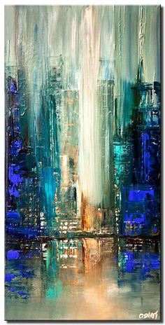 Abstract and Modern Paintings – Osnat Fine Art – Painting: City Lights – – Malerei Abstract City, Blue Abstract Painting, City Painting, Abstract Paintings, Painting Art, Acrilic Paintings, Knife Painting, Abstract Sculpture, Abstract Print