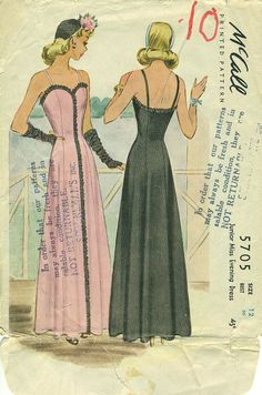 McCall 5705, copyright 1944. Featured in McCall Style News, July 1944 | Vintage Patterns Wikia