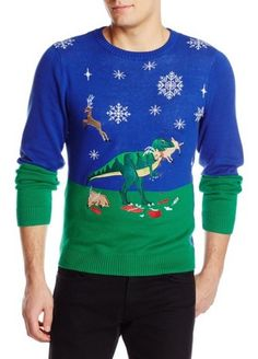 Alex Stevens Men's Dinosaur Reindeer Buffet Ugly Christmas Sweater - Christmas And Newyear Items Required