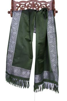 Luxurious Pure Silk Banarasi Scarf with Silver Thread Embroidery Borders Fringes #Handmade #Scarf