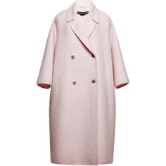 Rochas Pink Double Wool Mohair Coat ($2,530) ❤ liked on Polyvore featuring outerwear, coats, jackets, pink, rochas, double breasted wool coat, pink mohair coat, mohair coat and pink double breasted coat