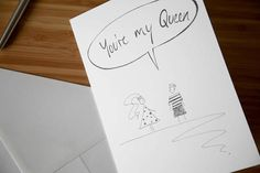 Valentines Card - Valentines Day Card - Valentines Day Gift for Her - Anniversary Card - Romantic Card Girl and Boy, You're My Queen - Greetings Card ChristopherWalster Romantic Cards, Valentines Day Gifts For Her, My King, Anniversary Cards, White Envelopes, A5, Things To Think About, Doodles, Greeting Cards