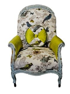 SIGLE CHAIR Bird fabric upholstery