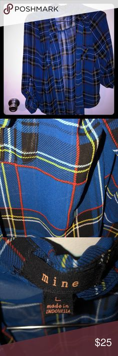 Button down -blue-yellow-red Sheer flannel Tops Button Down Shirts Button Downs, Button Down Shirt, Blue Yellow, Flannel, Buttons, Best Deals, Red, Closet, Shirts