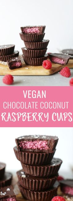 Vegan chocolate raspberry coconut cups. Naturally sweetened, easy to make, insanely delicious and perfect for Valentines day! Nutritionalfoodie.com