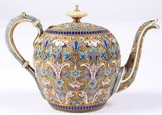 Russian silver gilt and cloisonne enamel teapot, 1895 By Ivan Saltykov