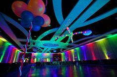 Dance floor with Neon wire lights Party People Celebration company