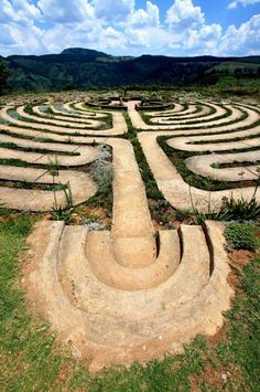 The Labyrinth at The Edge, a mountain retreat in Hogsback in the Eastern Cape, South Africa, is an eleven circuit Labyrinth, similar in design to Chartres Cathedral's labyrinth. Labyrinth Garden, Labyrinth Maze, Pilgrimage, Cosmos, Travel Photos, South Africa, Paths, Creepy, Scenery