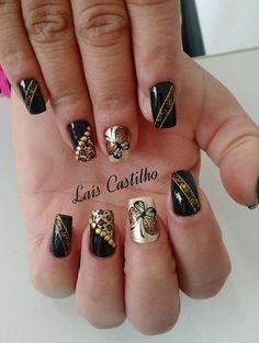 30 Modelos de unhas decoradas com borboletas Wedding Nails Design, Black Nail Designs, Nagel Gel, Black Nails, Summer Nails, Cute Nails, Pedicure, Class Ring, Hair Beauty