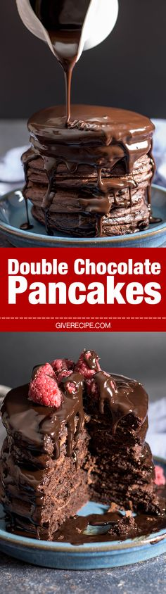 Double Chocolate Pancakes are very close to your favorite chocolate cake. Much easier and quicker though! - giverecipe.com