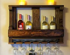 Rustic home decor - Wooden open wine rack - Wine decor - Rustic wine rack - Rustic wall decor - Wine rack wall - Rustic shelf