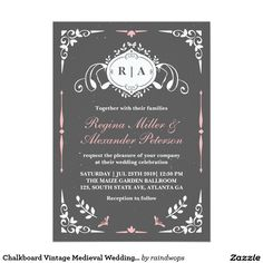 Chalkboard Vintage Medieval Wedding Invitation. Elegant Chalkboard Bridal Shower Invitation Templates. Classy bridal shower invitations that you can order online. Customized for the new bride to be. Elegant bridal shower invitation that feature a nice chalkboard background, great design and typography. Click image to customize. Feel free to like or repin.