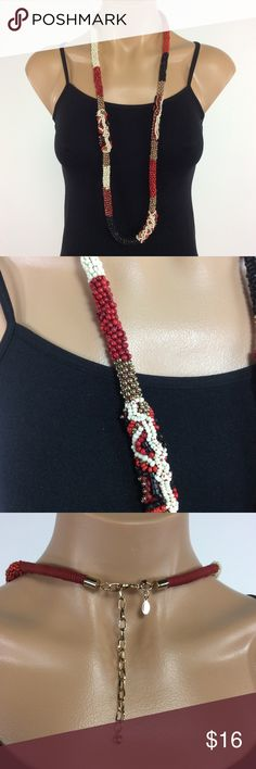 Chico's Long Red and Black Bead Necklace  BUNDLE 3 OR MORE ITEMS AND SAVE 20%  Any questions let me know. Chico's Jewelry Necklaces