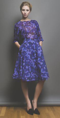Beautiful Soul London AW14 purple floral dress - 1950s inspired