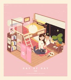 Discovered by ➤│Isabelle│🍶ˊ˗. Find images and videos about cute, gif and aesthetic on We Heart It - the app to get lost in what you love. Cute Illustration, Digital Illustration, Isometric Art, Animation, Kawaii Art, Cute Gif, Illustrations And Posters, Aesthetic Art, Motion Design