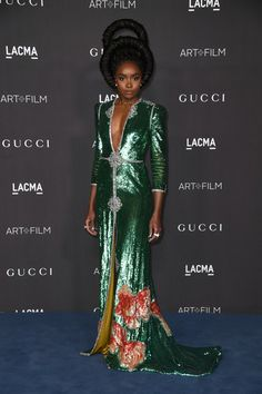 KiKi Layne attends the 2019 LACMA 2019 Art + Film Gala Presented By Gucci Arrivals on November 2019 in Los Angeles, California. Oscar Dresses, Formal Dresses, Formal Wear, Tumblr, African Wear, Red Carpet Fashion, Sequin Dress, Star Fashion, Green Dress