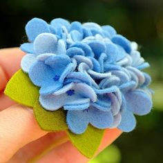 pammy dawn designs: Blue Nikko Hydrangea - Wool Felt Pin or Hair Clip
