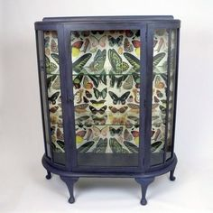 Glass shelved display cabinet hand painted and distressed with butterfly's.