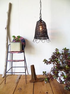 #partner Pendant Lamp Farmhouse Vintage Style Handmade Woven Wire
