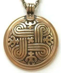"(Sponsored) Kalevala Koru kk Finland - Bronze Necklace Pendant with Chain ""St. Bronze Ring, Bronze Pendant, Antique Jewelry, Vintage Jewelry, Dragon Eye, Thors Hammer, Silver Brooch, St John's, Finland"