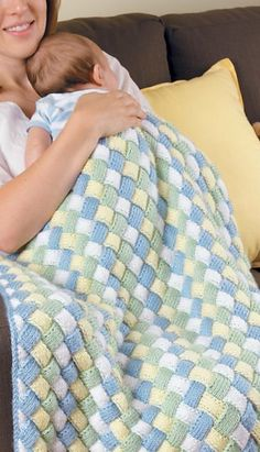 Entrelac crochet looks amazing on a baby blanket! By Marly Bird