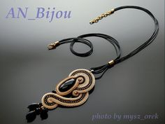 Soutache pendant Onyx with Gold Haematite . by ANBijou on Etsy