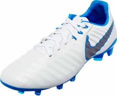 Nike Tiempo Legend VII Elite FG – Youth – White Metallic Cool Grey Blue Hero 72fb7889522c9