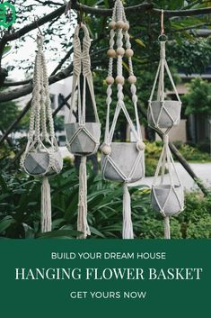 Macrame Hanging Planter, Hanging Flower Baskets, Hanging Fabric, Hanging Planters, Hanging Wall Art, Hanging Basket Brackets, Baskets On Wall, Jute, Display
